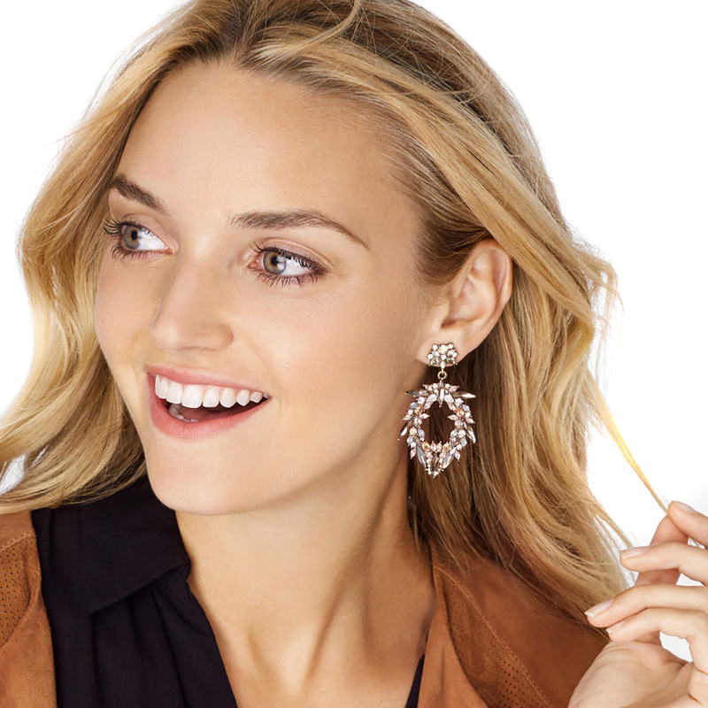 2017 New Arrival Hot Jewelry Crystal good quality 2 colors Special Bohemia garland long Big Earrings for Women girl gift party