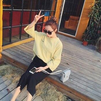 Spring Summer Women's Korean Elastic Waist Seven Points Wide Leg Pants Hot NEW Arrival 2018 Plus Size Pants & Capris