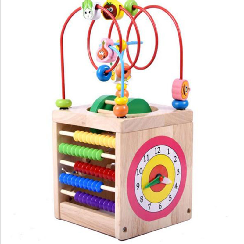 Kid Classic Educational Wooden Bead Toy Sets with Colorful Beads Educational Toy with Color Box Gift for Infant HT3922 kid s box 2ed 6 pb