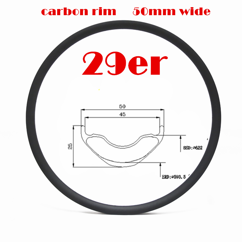 High strenghth carbon fiber 29 mtb rim 50mm wide rim 29er carbon bike rim for AM DH Enduro FATbike carbon mtb 650b rims stiffer dh bike part 27 5er 35x25mm wide down hill jumping racing ride excellent cycling parts store online
