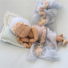 PWPROPS Mohair Bonnet Set Baby Handmade Crochet Hat Newborn