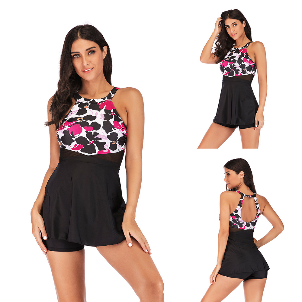 S-5XL Tankini Vintage Swim Dress Swimwear 2019 Two-piece Swimsuits Tankini Set Plus Size Bathing Suits Summer Beachwear Wine