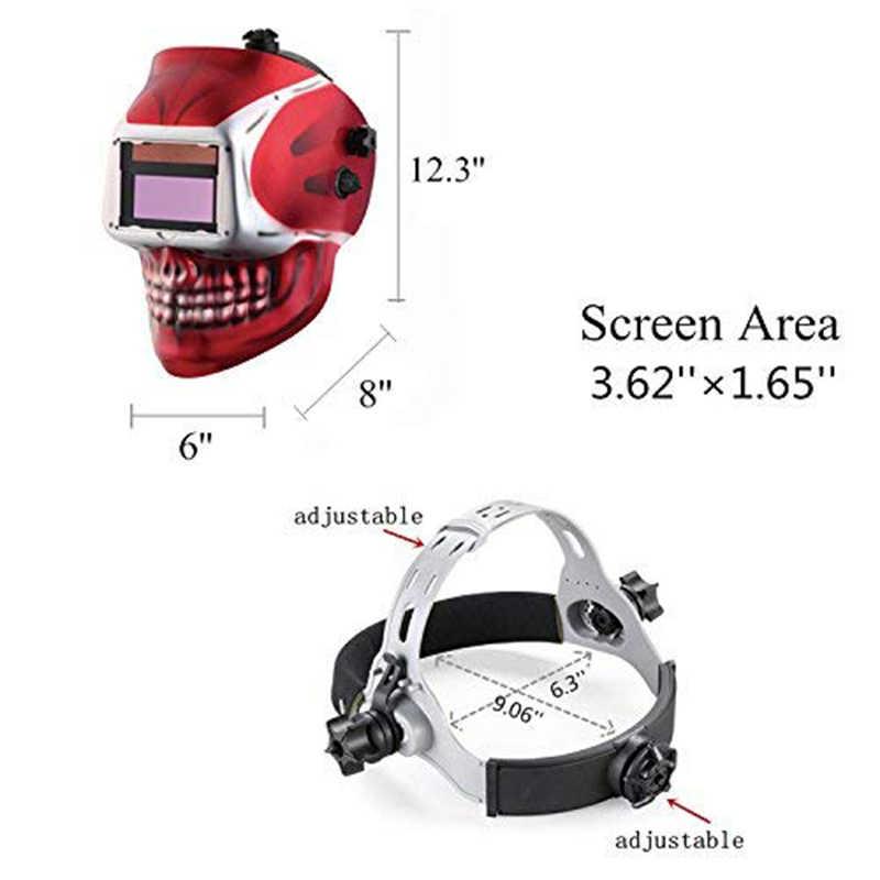 Auto Solar Máscara de Solda/Capacete de Soldagem/Soldador Cap/Goggle Máscara Facial para Solda Tig Mig Mag Mma equipamentos (Caveira Vermelha)