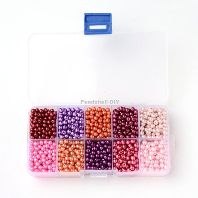6 mm Mixed perlado ronda perla cristal, teñido, Color mezclado, agujero : 1 mm ; sobre 600 unids/caja