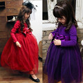 Antumn new wedding bridesmaid dress for little girl lace bow party wedding birthday girls elegant tutu ball gowns long sleeve