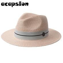 цена на Women Summer Sun Hat Wide Brim Beach Straw Panama Ladies Visors Jazz Cap Fashionable Handmade Casual Sun Hats For Women A068