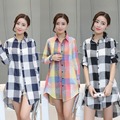 2017 Spring Women Full Sleeve Loose Linen Boyfriend Plaid Shirts Girl Long Turn-down Collar Blouses