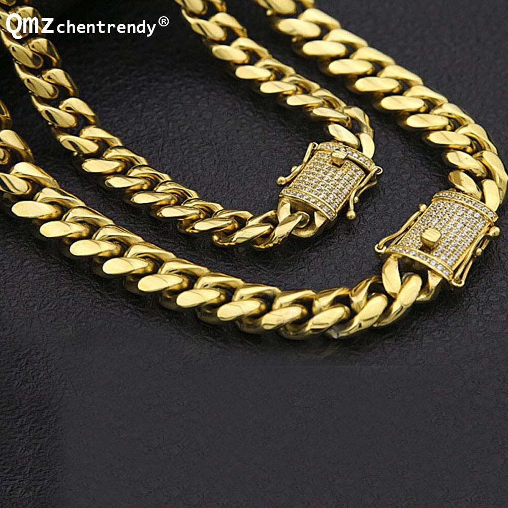 Chaîne cubaine en acier inoxydable avec Bling CZ cubique zircone fermoir fermoir de luxe collier 12/14mm Hip hop bijoux pour hommes