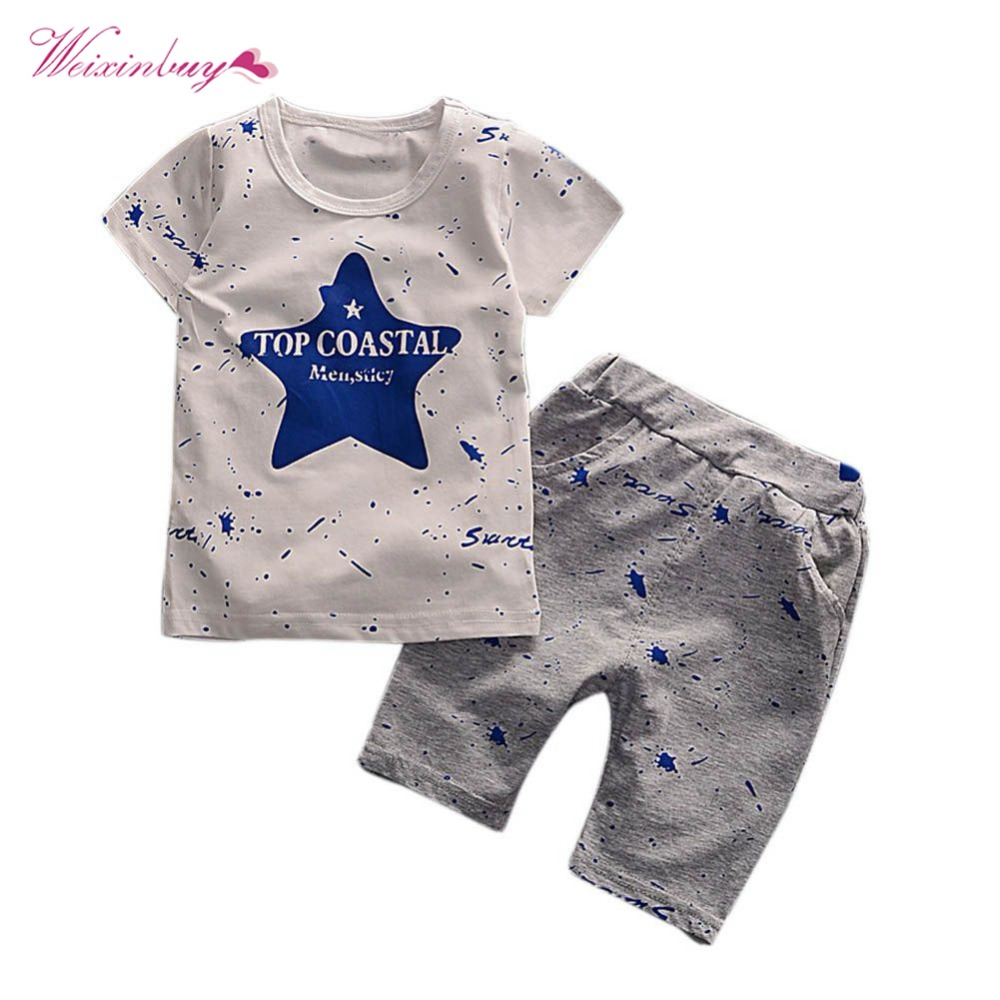 Summer Baby Boy Clothing Set Children's Clothes Sets Fashion Star Print Short Sleeve Top + Solid Cotton Dot Pants Outfits free shipping 2016 summer new arrive letter fashion children boy clothing set 100% cotton short sleeve casual clothes set