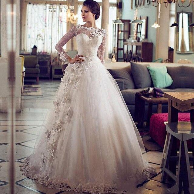 2017 dubai musulmán Árabe vestidos de novia de encaje princesa de