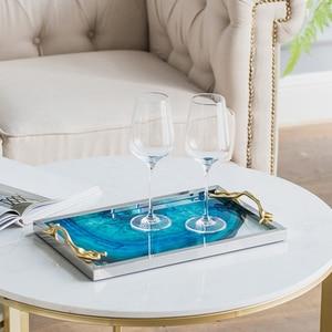 Image 3 - 현대 라이트 럭셔리 호수 블루 마노 패턴 직사각형 거실 주방 유리 컵 트레이 테이블 스토리지 트레이 서빙 플래터