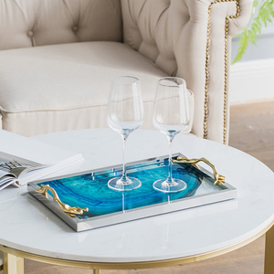 Image 3 - Modern Light Luxury Lake Blue Agate Pattern Rectangular Living Room Kitchen Glass Cup Tray Table Storage Tray Serving Platter