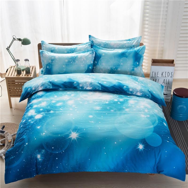 009 (2)  3d Galaxy Bedding Set Quilt Cowl Set Universe Outer House Themed pillowcase cover cowl flat Sheet 2PCS/3pcs/4pcs queen Twin HTB19Z 3SFXXXXaJaXXXq6xXFXXXG