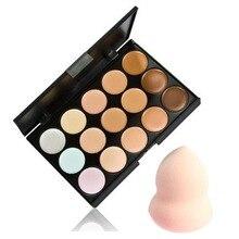 15 Color Contour Face Cream Makeup Concealer Palette & Sponge Puff Makeup Set  New Quality Fashion цена