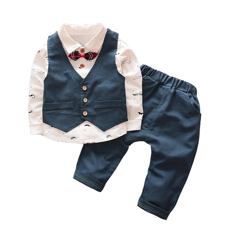 Baby Boy Clothes 2017 New Spring Autumn Newborn Baby Clothing Set 3pcs/set Infant Gentleman Suit for Wedding Birthdays Party 2018 baby boy girl clothes spring autumn hooded baby girl clothes 3pcs set baby clothing set with zipper newborn baby suit