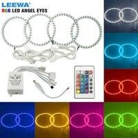 LEEWA 4X106mm COLORFUL 5050 RGB LED FLASH ANGEL EYES HALO RINGS For BMW 3 Series E46 (2Doors/ Convertible) 1999 2001 #CA4325