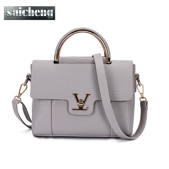 2016 Mujeres V Letras Saffiano bolsos de Cuero de Las Mujeres de Cercanías Oficina anillo de la Bolsa Bolsas bolsa de asas de Las Mujeres Famosas Ladys V Solapa bolsa