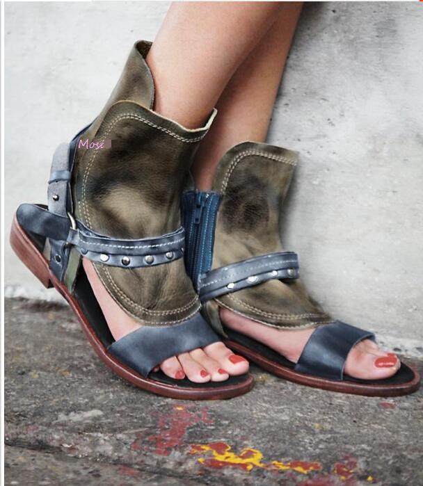 New 2018 Fashion Leather gladiator Sandals women Rivet Summer Ladies Dress shoes woman Beach Shoes Flat Sandals patent yfxc 2018 fashion women sandals summer shoes ladies xiang shoes woman comfort beach shoes flat sandals