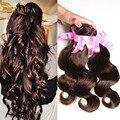 Human Virgin Indain Hair Dark Brown #2 Indian Virgin Hair Body Wave 4 Bundles Indian Hair Weave Bundles Mink Indian Hair style