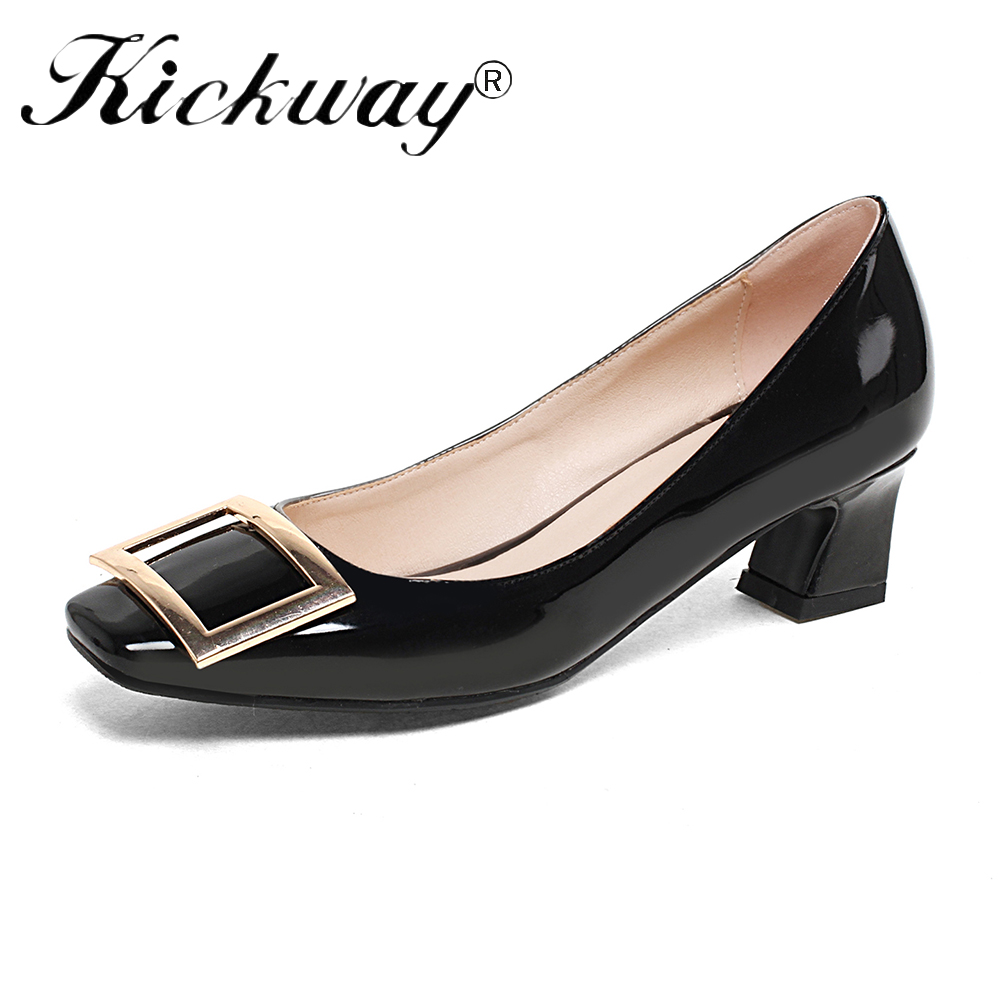 2019 New Office Shoes For Women Low Heel Black Dress Shoes Women Vintage Woman Big -3028