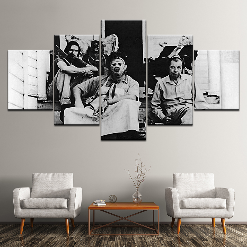 5 Panel The Texas Chainsaw Massacre Poster Wall Art Canvas Painting Modern Home Decor Canvas Print Pictures Artwork Painting in Painting Calligraphy from Home Garden