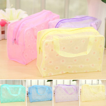 Random Color Floral Print Transparent Waterproof Makeup Make up Cosmetic Bag Travel Wash Toothbrush Pouch Toiletry Organizer B