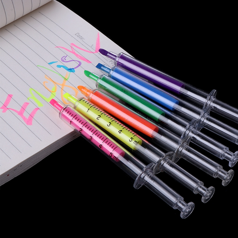 6PCS Cute Kawaii Novelty Nurse Needle Syringe Shaped Highlighter Marker Marker Pen Stationery School Supplies