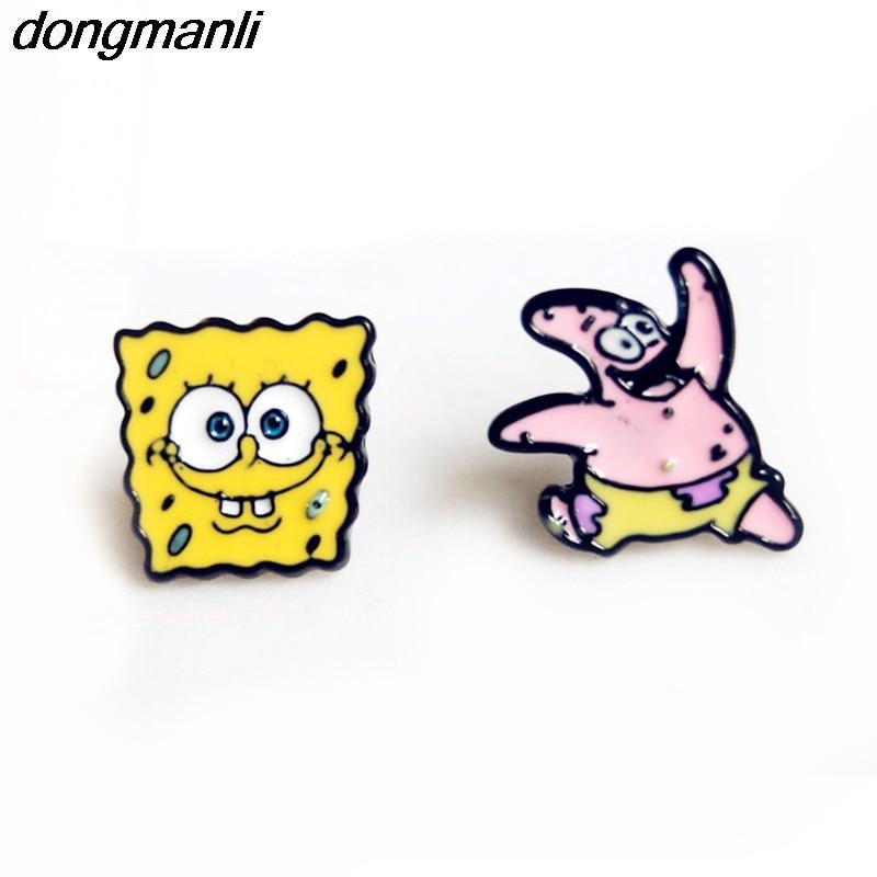 W2846 Dongmanli 1pair Еуропалық Классикалық сүйкімді мультфильм сырғалар Trendy Spongebob Stars дизайн эмаль балалар Stud Сервер