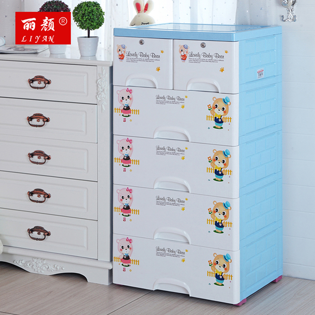 Thickening baby plastic drawer storage cabinets lockers