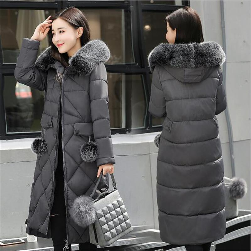 Russian Thickening Long Jacket Women Outwear Coat 2017 New Hooded Warm Female Winter Coat Loose Big Fur collarWomen Parkas fashion 2017 women winter jacket warm fur hooded parkas female long casual cotton padded thickening winter coat outwear cm1412