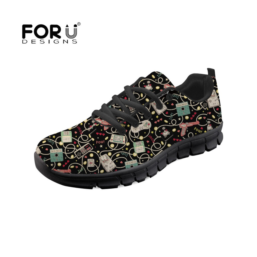 FORUDESIGNS Fashion 2018 Women Flat Sneakers Favourite Game Retro Printed Autumn Casual Woman Shoes Breathable Zapatos de mujer forudesigns casual women flats shoes woman fashion graffiti design autumn lace up flat shoe for teenage girls zapatos mujer 2017