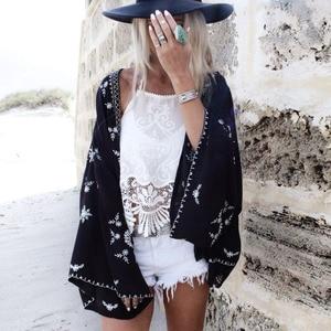 Шифоновая Блузка размера плюс, накидка на пляжное саронги, кардиган 2020, летнее черное кимоно с длинным рукавом летучая мышь и принтом, шикар...