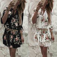 Винтажное женское летнее платье с запахом, V-образным вырезом, цветочным принтом в стиле бохо, элегантный женский праздничный пляжный мини-сарафан 4