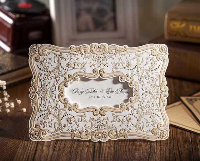 Imprimible Retro Styling ranura para tarjeta de invitación de boda con oro Hotstamping papel vides establece CW056 ( Set de 50 ) envío gratis