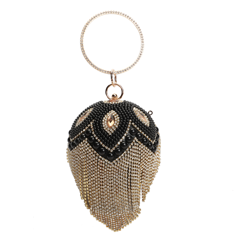 Designer Round Ball Evening Clutch Bag Gold Tassel Diamond Clutches Wedding party Bag Beaded Crystal Diamond Chain Clutch QF mz15 mz17 mz20 mz30 mz35 mz40 mz45 mz50 mz60 mz70 one way clutches sprag bearings overrunning clutch cam clutch reducers clutch