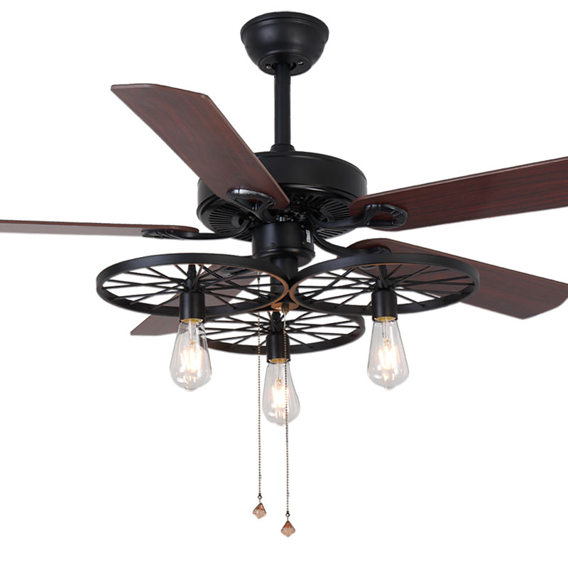 American Retro Industrial Style Ceiling Fan With Lights