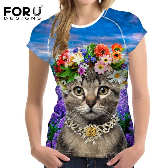 FORUDESIGNS Women Short Sleeve T-Shirt Kawaii Queen Cat Print Summer T Shirt Women Casual Clothes Tops Tee Shirt Femme Tshirt