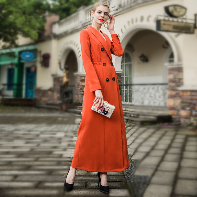 f12985ced9ca3 Quality Women Autumn Maxi Long trench coat 2018 Lady Double-breasted Orange  Elegant Outerwear Plus size M- XXXL