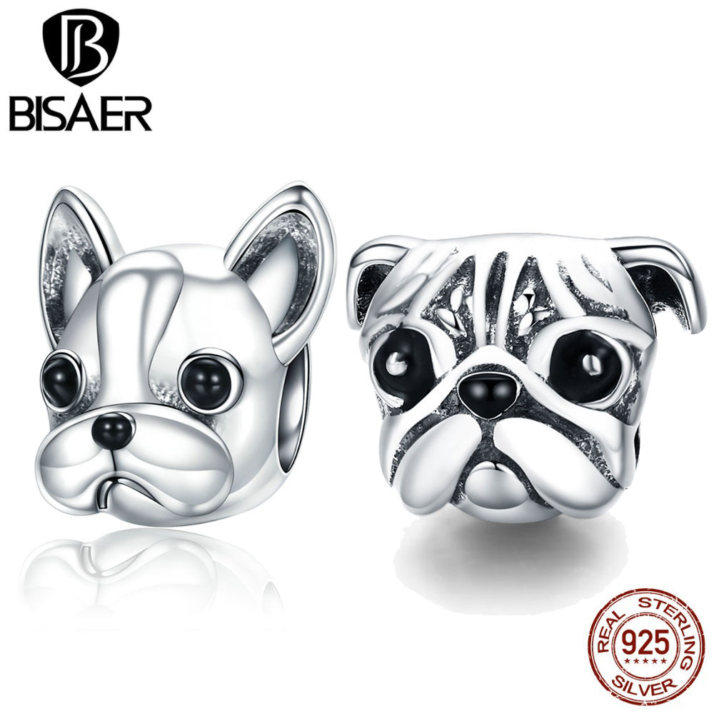 12be881ffdd BISAER 925 Sterling Silver English French Bulldog Dog Animal European Beads  Charms Fit Original Silver 925 Jewelry Making ECC315