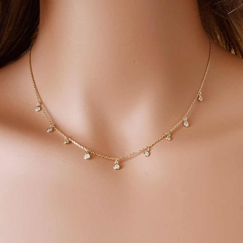 Dài CZ Vòng Cổ, Dangling Simulated Diamonds by the Yard, Bezel CZ trạm necklace