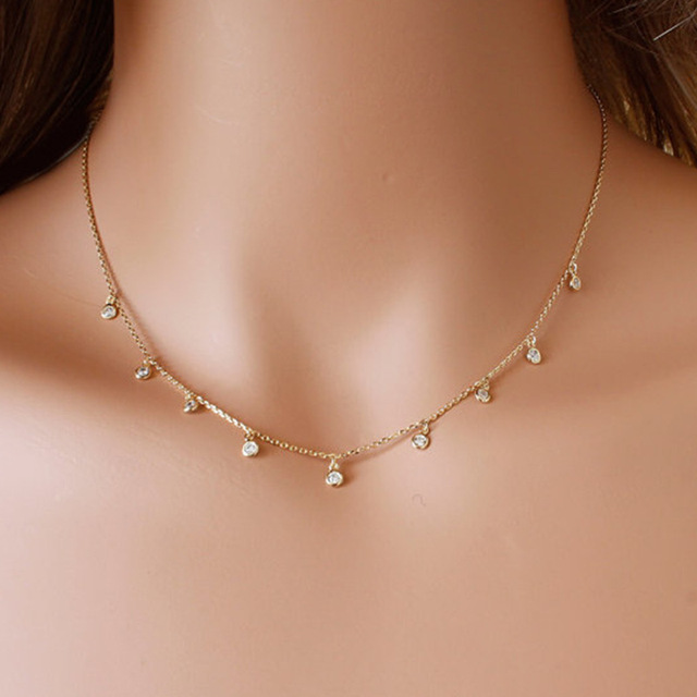 22d3a5b148128 US $0.16 50% OFF Long CZ Necklace, Dangling Simulated Diamonds by the Yard,  Bezel CZ station necklace-in Choker Necklaces from Jewelry & Accessories ...