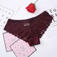 DEWVKV Underwear Panties Woman Sexy Lace Transparent Low-Rise Briefs Soft Breathable Solid Pink Gray Green Claret Hot Sale ZC