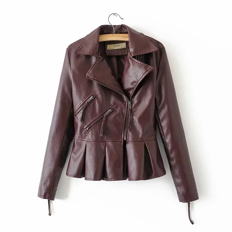 autumn cool girls street-wear bomb coats outerwear women chic ruffles PU   leather   jackets for office ladies moto-bikers jacket