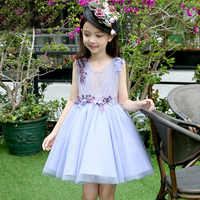 Flower girl dresses for weddings girl party robe bandage celebrity mesh dress baby ball gowns simple purple v neck tutu clothes