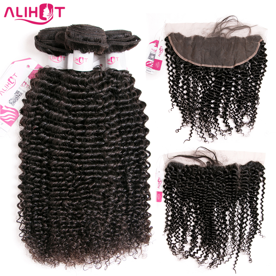 ALI HOT Kinky Curly Peruvian Hair Bundles With Frontal Closure Ear To Ear 100% Remy Hair Weave Bundles Can Be Dyed Free Shipping