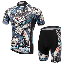 Charger Men Women Cycling Set Short Sleeve Jersey and Shorts MTB Downhill Roupa Ciclismo 100 Polyester