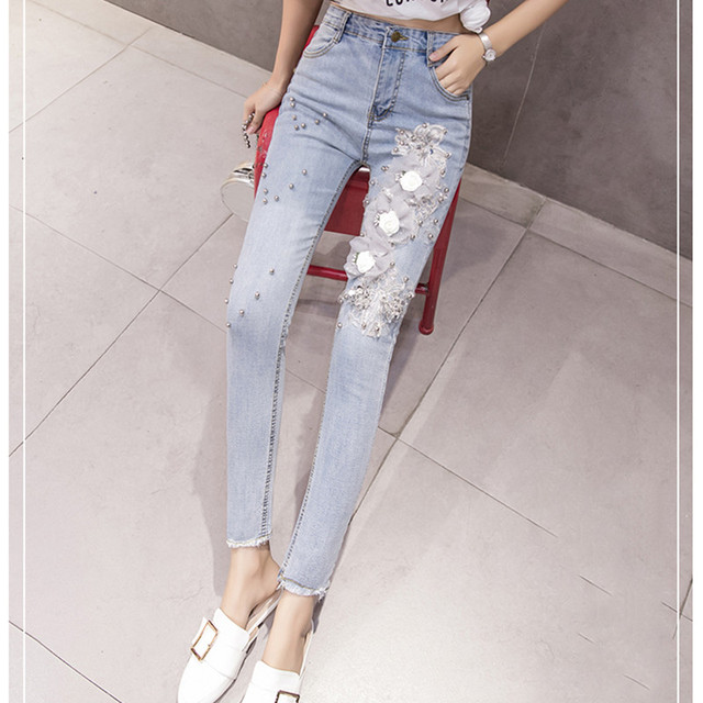 JUJULAND 2019 Jeans Female Denim Pants Appliques flowers Womens Jeans Donna Stretch Bottoms Skinny Pants For Women Trousers 7042