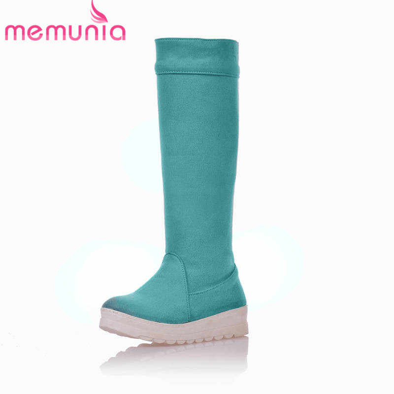MEMUNIA 2018 yeni akın diz yüksek çizmeler kadın yuvarlak ayak kayma kışlık botlar katı renkler rahat platform ayakkabılar kadın