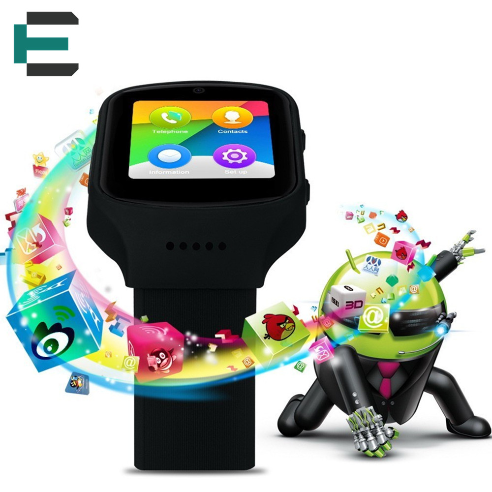 MTK6580 3G Quad core Smart Watches Android 5 1 watch phone Support WCDMA Sim card GPS