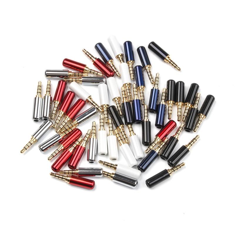 10Pcs/set Mini Jack 4 Poles Male Plug Aluminum Shell Stereo 4 Pin 3.5mm Plug Wire Connector Heaphone Plug Earphone Plug
